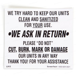 Restroom Decals and Signs—Keep Units Clean Sticker