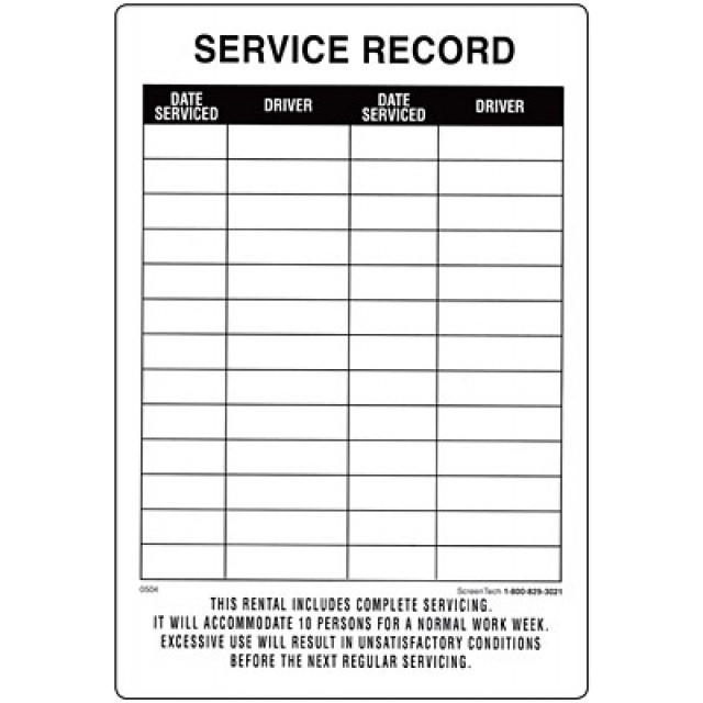Restroom Decals and Signs—Service Record Sticker